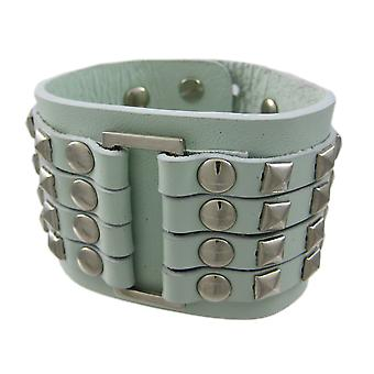 Gray Leather 4 Row Chrome Pyramid Stud Wristband