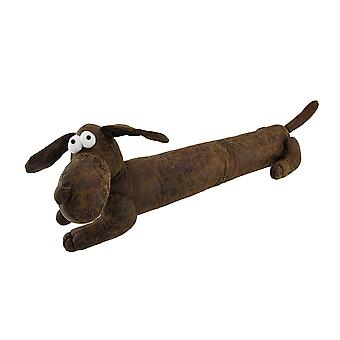 Adorable Stuffed Dachshund Dog Faux Leather Bean Bag Draft/Door Stop