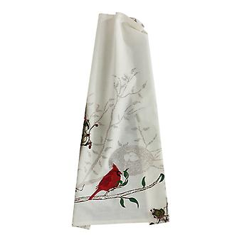 Bright Red Cardinal and Nest Embroidered Kitchen Dish Towel