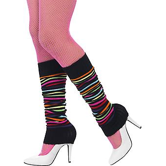 Neon stockings striped with black 90 warmers neon nights