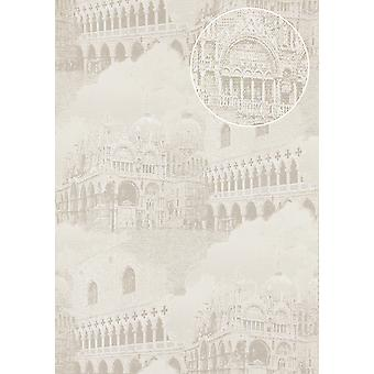 Graphic wallpaper Atlas SIG-582-1 non-woven wallpaper structured with architectural motifs and metallic accents light grey cream white silver grey 5.33 m2