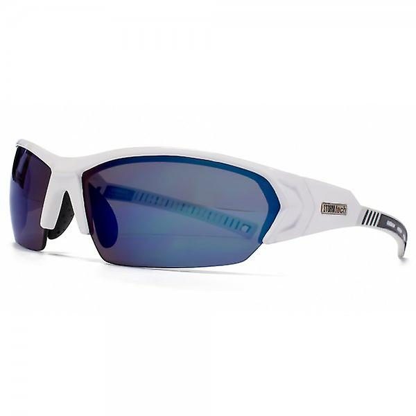 STORM Achird Sunglasses In Polished White/Black & Ice Blue Mirror