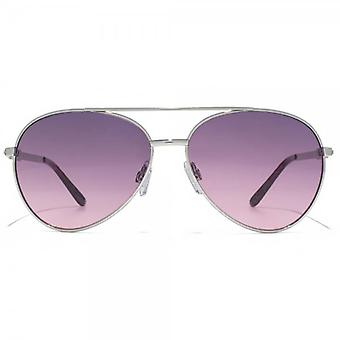 Carvela Diamante Temple Aviator Sunglasses In Shiny Silver