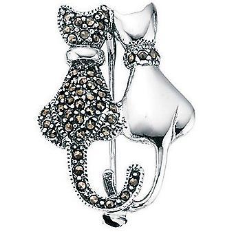 925 sølv Marcasite broche katte