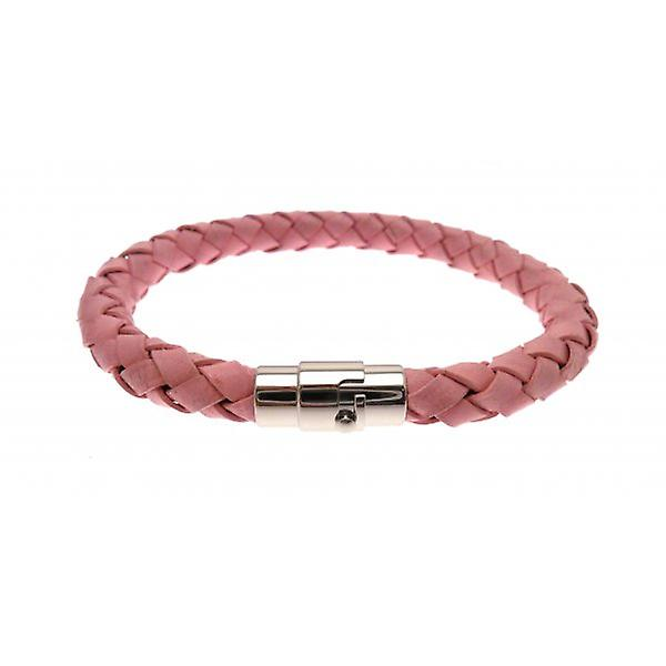 W.A.T Pink Plaited Leather Bracelet