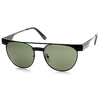 Metal Double Bridge Flat Top Round Aviator Sunglasses