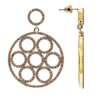 22ct Rose goud Vermeil Micro effenen Olympische Earring Champagne