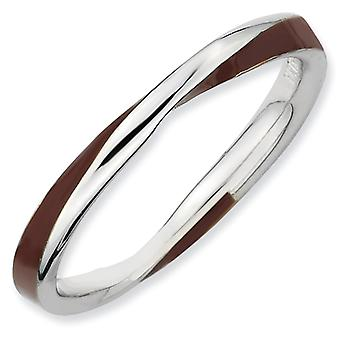Sterling Silver Twisted Brown Enameled 2.5 x 2.25mm Stackable Ring - Ring Size: 5 to 10