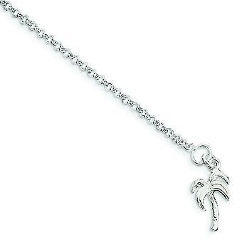 Argent sterling massif poli Palm Tree Anklet - bague élastique - Durée: 9 à 10