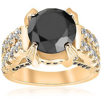 5 5 / 8ct Black & White do diamante anel 14K ouro amarelo