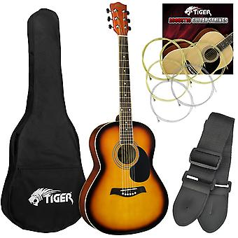 Tiger Acoustic Guitar Package for Beginners - Sunburst
