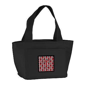 Letter T Football Red, Black and White Lunch Bag