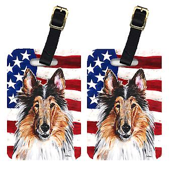 Carolines Treasures  SC9622BT Pair of Collie with American Flag USA Luggage Tags