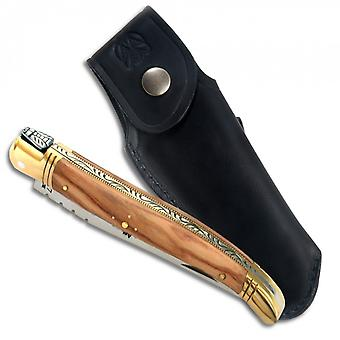 One part Laguiole knife with Olive Wood handle, 11 cm + Black Finest quality leather sheath Direct from France