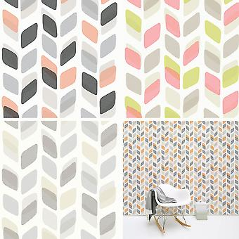 Abstract Leaf Leaves Wallpaper Retro Vintage Geometric Textured Vinyl 3 Colours