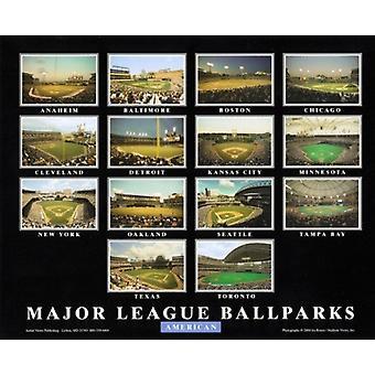 Major League Ballparks - American League Poster Print by Ira Rosen (28 x 22)