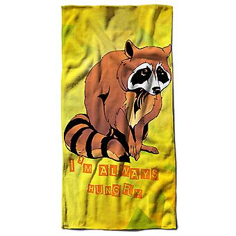 Hungry Racoon Cute Animal Beach Towel 70cm x 150cm | Wellcoda