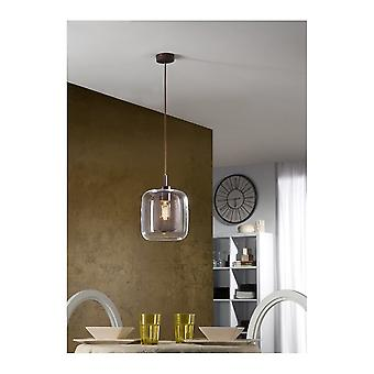 Schuller Fox Large Single Chocolate Colour Pendant Light With Clear Glass