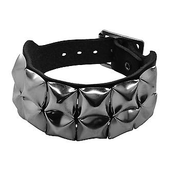 Bullet 69 Black 2 Row Pyramid Studded Leather Wristband