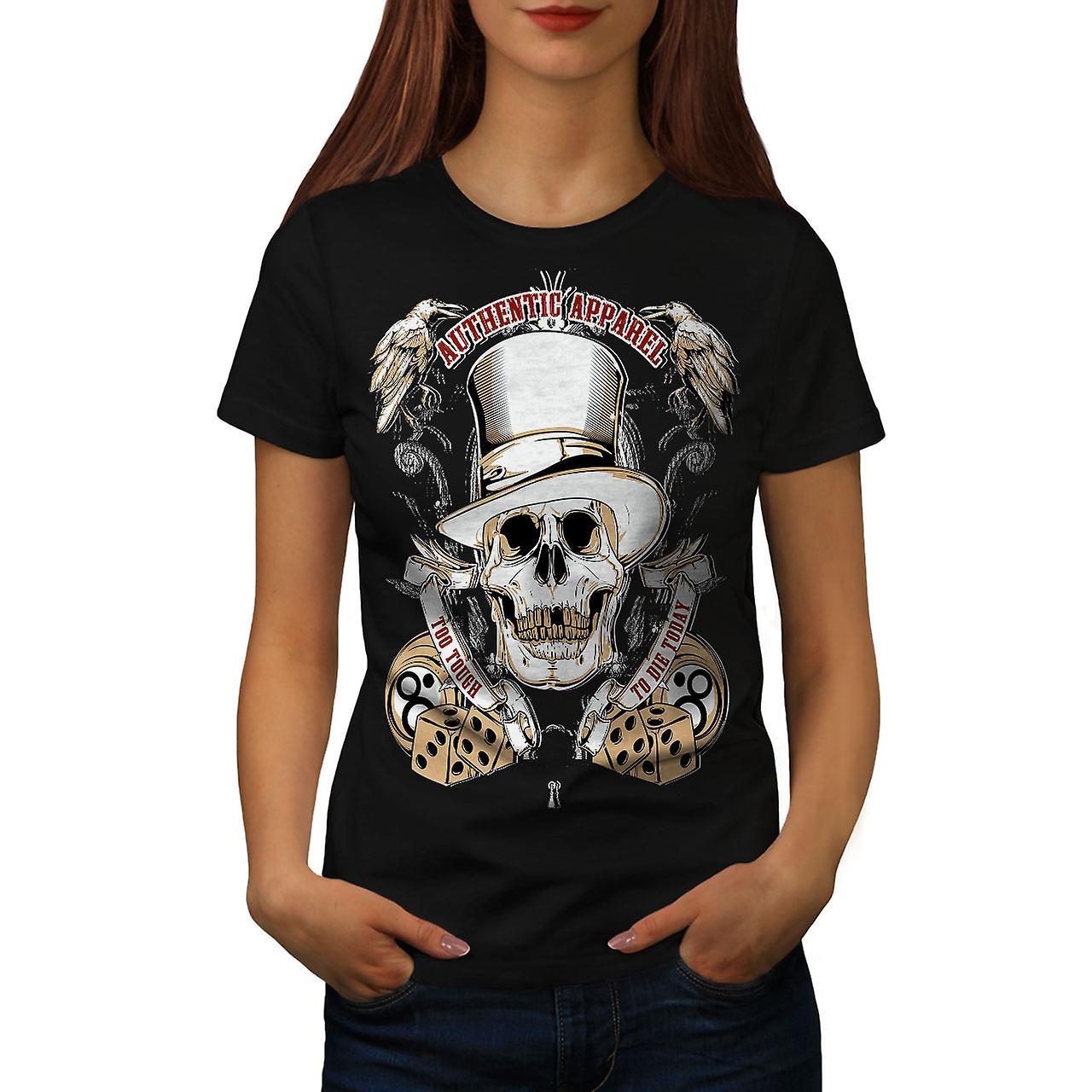 Too Tough To Die Skull Women Black T-shirt | Wellcoda