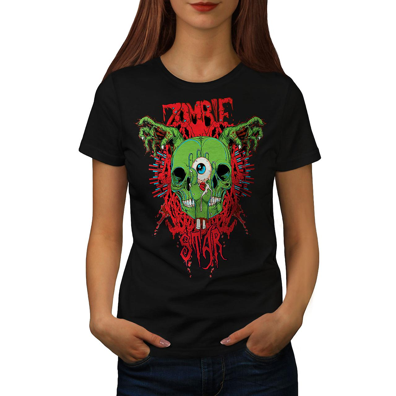Skull Star Dead Zombie Women Black T-shirt | Wellcoda