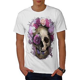 Skull Flower Rose Men WhiteT-shirt | Wellcoda