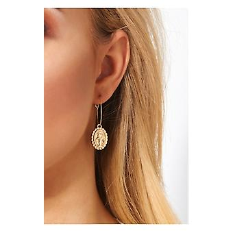 The Fashion Bible Gold Virgin Mary Hoop Earrings