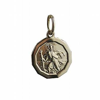 18ct Gold 13x15mm plain dodecagonal St Christopher Pendant