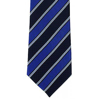 Michelsons av London Multi texturerad Stripe Polyester Tie - blå