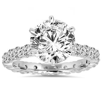 5.50CT Diamond Eternity Engagement Ring 14K White Gold
