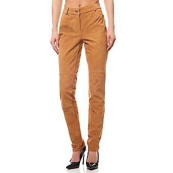 Heine ladies brown leather pants in smooth suede