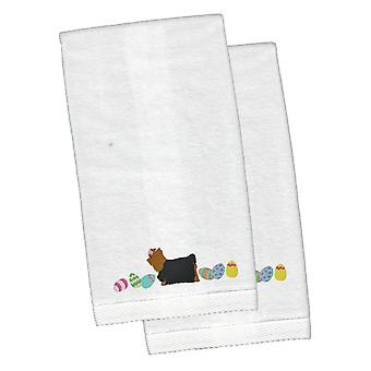 Yorki Yorkshire Terrier Wielkanoc biały haftowany pluszowe Hand ręcznik zestaw 2