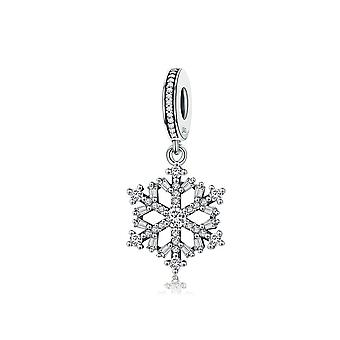 Sterling silver pendant charm Sparkling snowflake SCC266