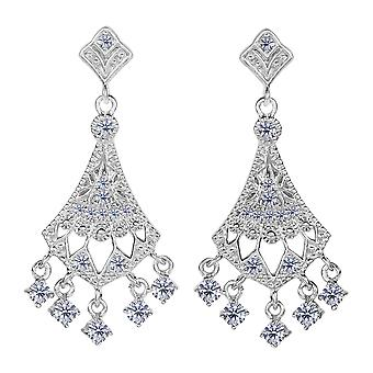 Sterling Silver And Cubic Zirconia Chandelier Drop Earrings
