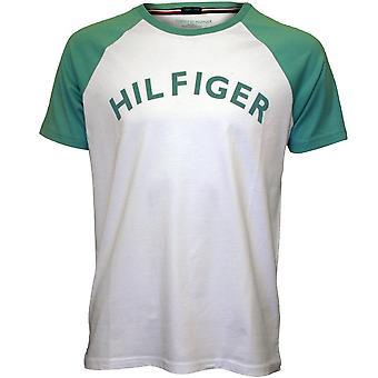 Tommy Hilfiger Logo Crew-Neck Organic Cotton Raglan T-Shirt, White/mint