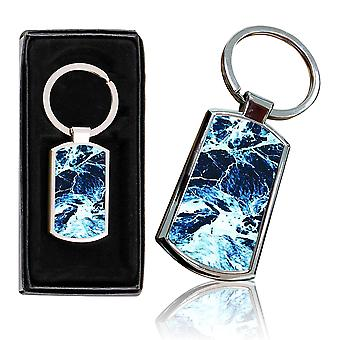 i-Tronixs - Premium Marble Design Chrome Metal Keyring with Free Gift Box (1-Pack) - 0019