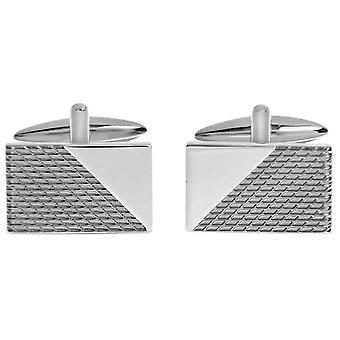 David Van Hagen Shiny Gunmetal Textured Rectangle Cut Out Corner Cufflinks - Grey/Silver