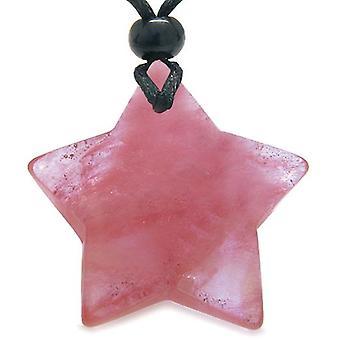 Amulet magiske fem pegede Super Star Cherry kvarts sikkerhed held udhugget vedhæng halskæde