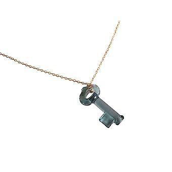 Gemshine - Damen - Halskette - Anhänger - SCHLÜSSEL - *Indian Sapphire* - Blau - Vergoldet - MADE WITH SWAROVSKI ELEMENTS® - 45 cm