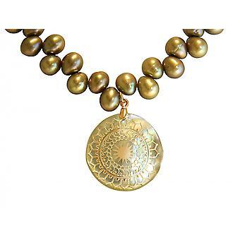 Gemshine - damas - collar - colgante - madre Locket - perlas - perla - oro cromado - bronce - 3 cm