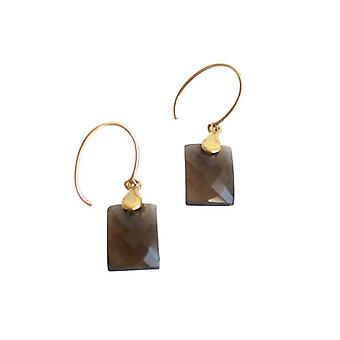 Gemshine - Damen - Ohrringe - Vergoldet - Rauchquarz - Facettiert - Braun - 2 cm