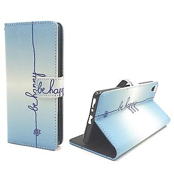 Handyhülle Tasche für Handy Sony Xperia XA Schriftzug Be Happy Blau