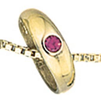 Детская крещение ювелирные изделия девушка ☆ кольцо 333 золото желтое золото красный рубин 1 крещение подвеска
