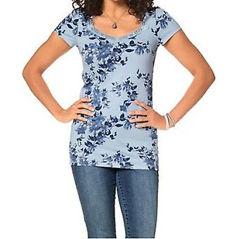 BOYSEN'S ladies T-Shirt with light blue floral pattern