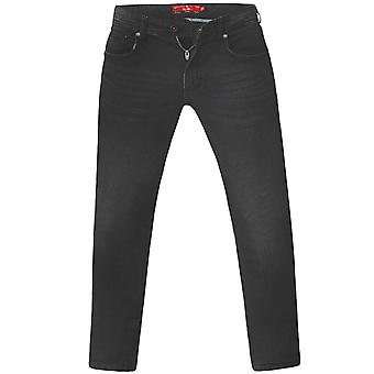 D555 Mens Benson Big Tall King Size Slim Fit Stretch Jeans Trousers - Black