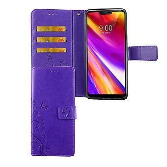 Su cubierta del bolso de la caja móvil G7 ThinQ de LG Flip violeta caso compartimiento