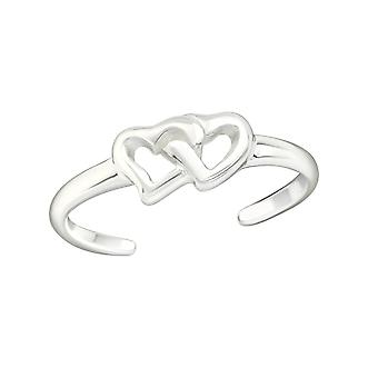 Double Heart - 925 Sterling Silver Toe Rings - W21054x
