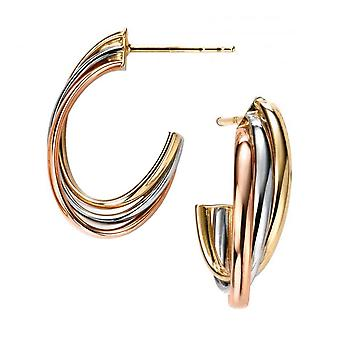 Elements Gold Triple Hollow Open Hoop Earrings - Gold/Rose Gold/White Gold