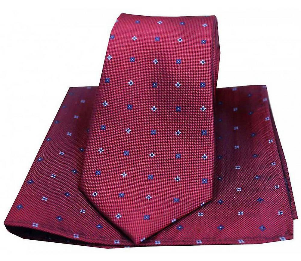 David Van Hagen Small Flowers Tie and Pocket Square Set - Wine