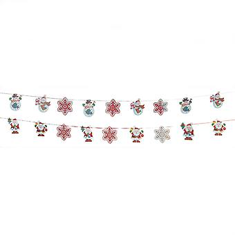 TRIXES 2M Holographic Xmas Snowman and Snowflake 3D Garland 9PC with Ribbon